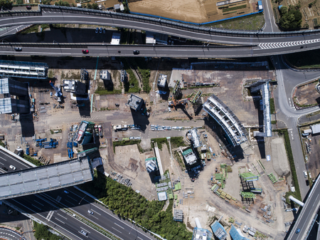 Aerial photograph of an effect road under construction. Viewpoint from directly above.