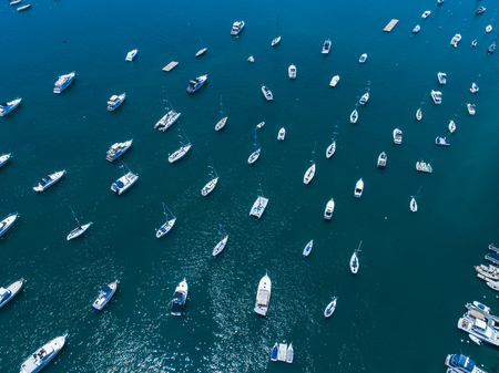 Aerial shooting of the sea and many ships. Publikacyjne