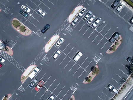 Aerial photograph of parking lot of sightseeing spot. Cute design. Zdjęcie Seryjne