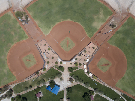 Aerial shooting of a park with a baseball field.