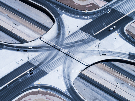 Aerial photograph of a crossing large elevated expressway. aerial photograph.