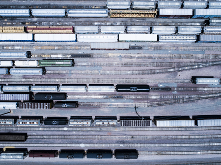 An aerial photograph of an outdoor garage where the freight train stops. Viewpoint from directly above. Zdjęcie Seryjne
