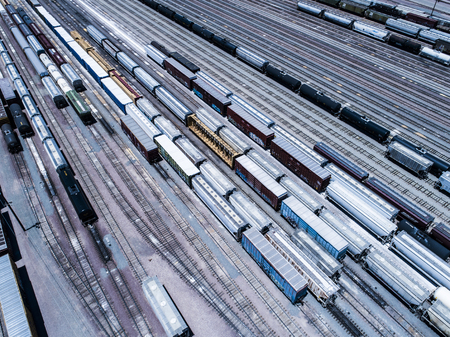 An aerial photograph of an outdoor garage where the freight train stops.