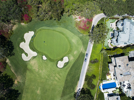Aerial photograph of golf course and relaxing resort. Zdjęcie Seryjne