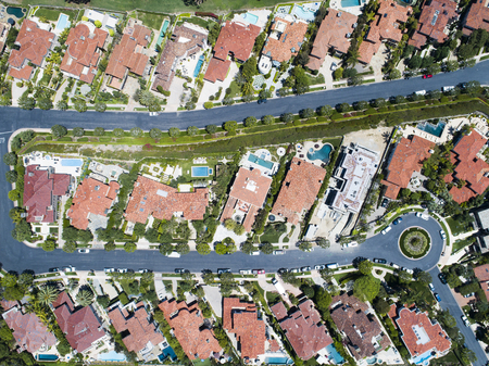 Aerial shooting of a new luxury residential area. Viewpoint from directly above. Stock Photo