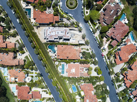 Aerial shooting of a quiet luxury resort town.