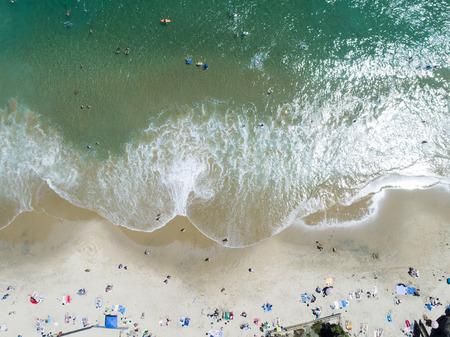 A beach in California. Aerial shooting of a beautiful sandy beach.