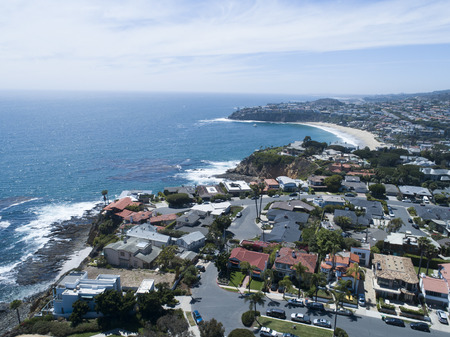 Aerial photograph of resort area. Landscape picture of the beautiful sea, coastline and blue sky.