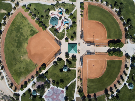 Aerial photograph of small baseball field and basketball court. Zdjęcie Seryjne