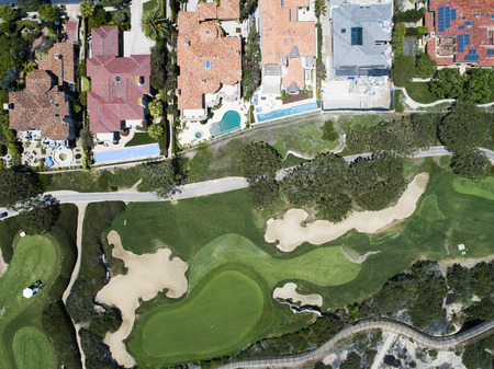Aerial shooting of golf courses and resort areas. Stock Photo