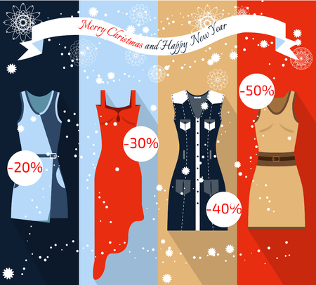 Christmas Sale banner. Flat illustration.