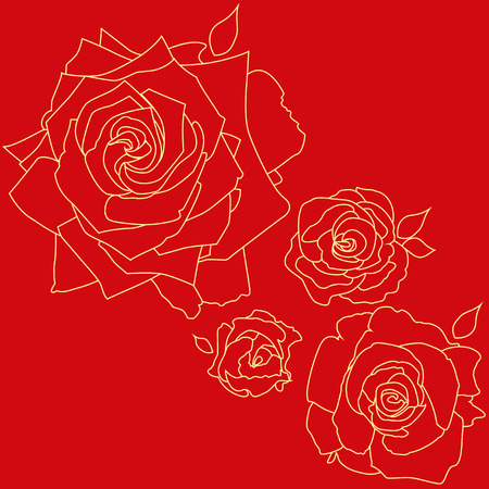 Outline pattern. Four roses on a red background.