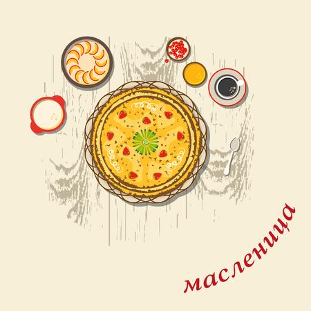 Russian holiday Maslenitsa. Pancakes - one of the symbols of Shrovetide. Russian translation: shrovetide.