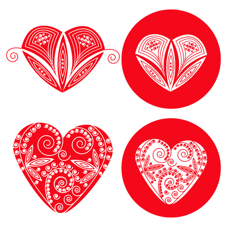 four objects: Valentines red hearts set of four objects. Vector illustration