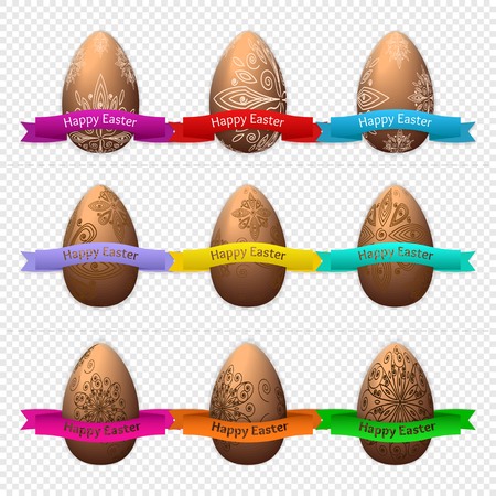 Set of nine Easter eggs made of chocolate on a transparent background with ribbon. Vector illustration Illustration