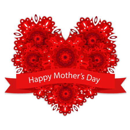 Card for Mothers Day with red heart. Vector illustration