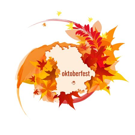 brewery: Banner for Octoberfest with color splash, autumn leaves, map of Bavaria. Vector illustration
