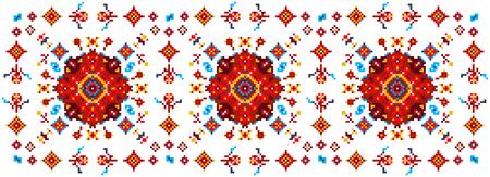 punto de cruz: Patrón floral brillante para punto de cruz. Ilustración de vector abstracto