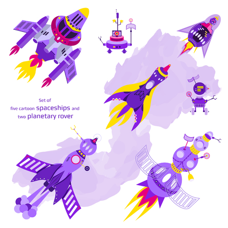 Set of five cartoon spaceships and two planetary rovers. Vector illustration Illustration