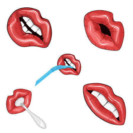 Set of five images of red shiny lips. Vector illustration