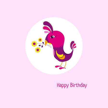 Cartoon birthday card with cute bird and bouquet. Illustration