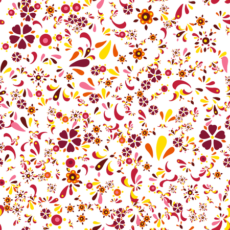 Seamless floral pattern with flowers and leaves. Vector illustration Illustration
