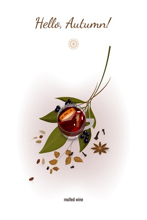 Autumn still life with a glass of mulled wine, green and yellow leaves, spice and black berries. Vector illustration