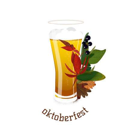 Banner for Octoberfest with autumn leaves and glass of beer. Vector illustration 向量圖像