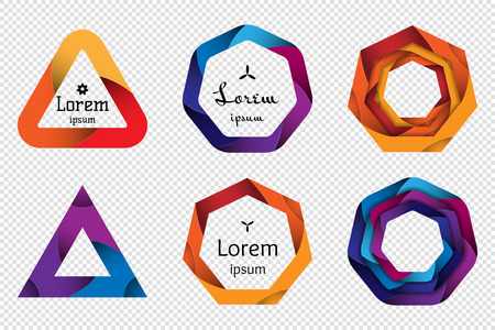 Set of colorful 3D origami geometric shapes for the design of icon , banners and other. Trendy concept multi layers papercut effect isolated on transparent background. Vector illustration