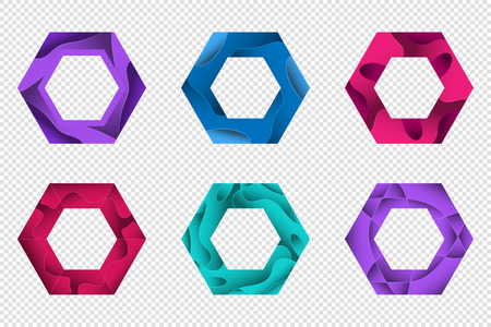 Set of colorful 3D origami geometric shapes for the design of icons, banners and other. Trendy concept multi layers papercut effect isolated on transparent background. Vector illustration