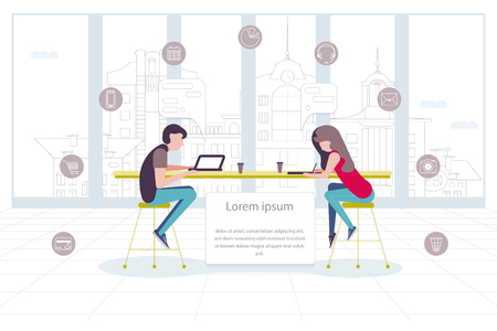 Teamwork concept. Modern workplace. Shared working environment. Business people working at the computers and communicate in the open space creative office. Co-working center. Flat vector illustration