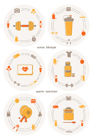 Set of six flat icons on the theme of healthy lifestyle, fitness and sports nutrition. Vector illustration Illustration