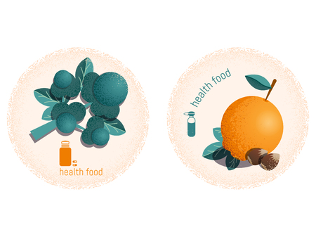 Set of two stickers with grain texture on the theme of healthy lifestyle, fitness and sports nutrition. Vector illustration. Illustration