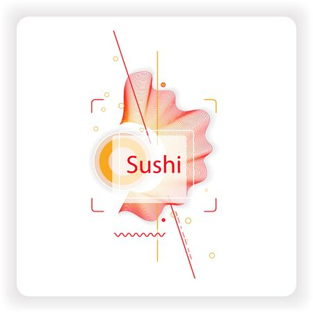 Banner template design with trendy geometric vector pattern. Illustration for advertisement or sale of sushi with modern abstract linear shapes for sale promotion or business elements. Illustration