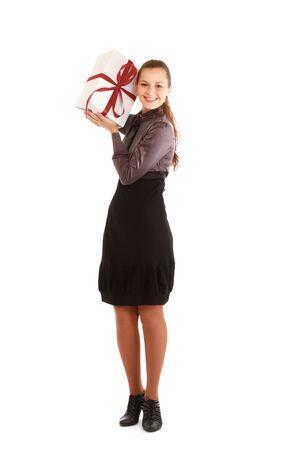 Woman holding gift box isolated on white background photo