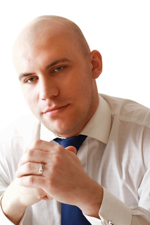 Portrait of a successful businessman on white  photo