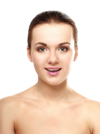 Beautiful woman, portrait isolated on white background photo
