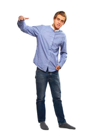 unemotional: Full-length portrait of a young college guy, isolated on white Stock Photo