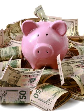 piggy bank on dollars, isolated on white background.