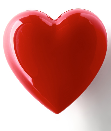 shiny hearts: A red heart isolated on white background
