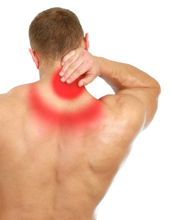 Muscular man with back neck ache, isolated on white background.