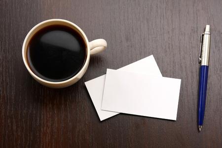 tarjeta: el café y el negocio de tarjetas Foto de archivo