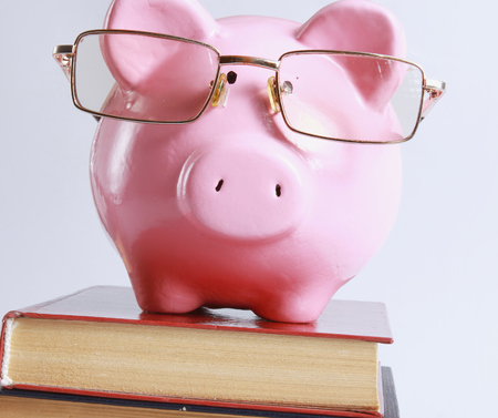 piggy bank with glasses and bookin isolated white background photo