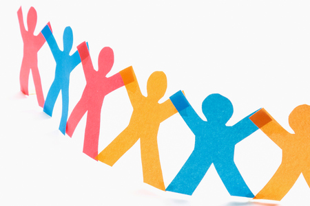 linked hands: Circle of colorful people with clipping path