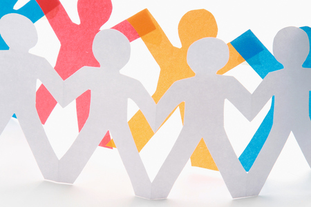 Paper cut people, isolated on white background