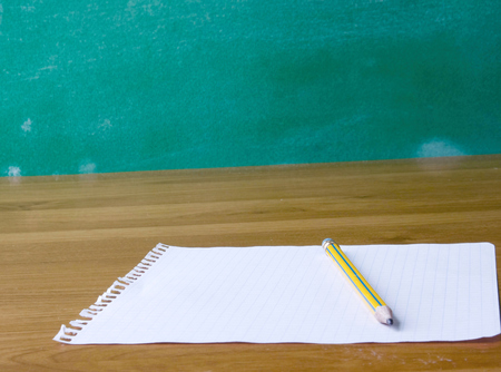 err: Page from the notebook with pencil