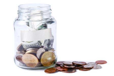 debet: Money on the bottle,dollar,isolated  white Stock Photo