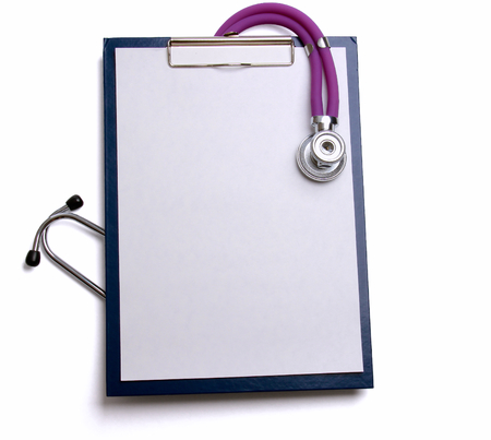 stethoscope: Medical clipboard and stethoscope isolated on white background