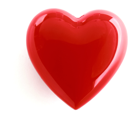 glass heart: A red heart isolated on white background