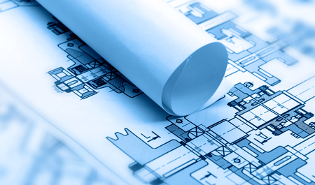 blue prints: Architectural drawing Stock Photo